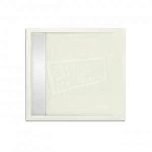 Xenz Easytray 80x80x5 cm acryl zelfdragende douchebak incl. gootcover edelweiss mat