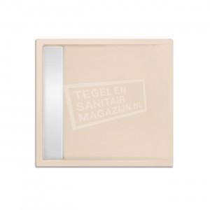 Xenz Easytray 80x80x5 cm acryl zelfdragende douchebak incl. gootcover creme mat
