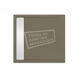 Xenz Easytray 80x80x5 cm acryl zelfdragende douchebak incl. gootcover klei mat