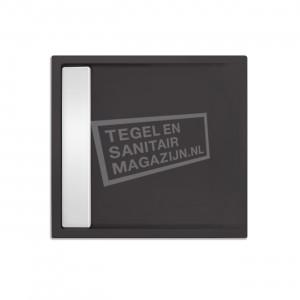 Xenz Easytray 80x80x5 cm acryl zelfdragende douchebak incl. gootcover antraciet mat