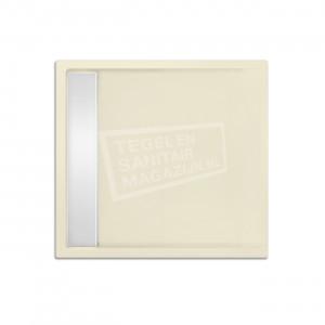 Xenz Easytray 80x80x5 cm acryl zelfdragende douchebak incl. gootcover pergamon glans