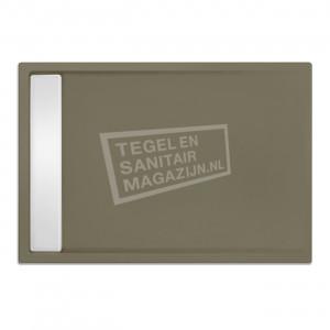 Xenz Easytray 100x80x5 cm acryl zelfdragende douchebak incl. gootcover klei mat