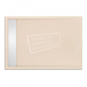 Xenz Easytray 110x80x5 cm acryl zelfdragende douchebak incl. gootcover creme mat