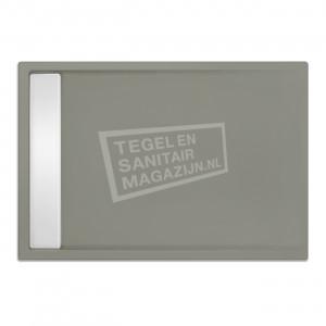 Xenz Easytray 110x80x5 cm acryl zelfdragende douchebak incl. gootcover cement mat