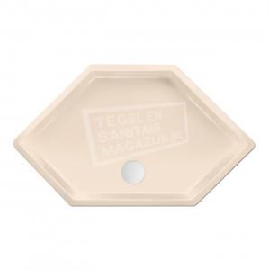 Xenz Honolulu 100x100x4 cm zeshoekige douchebak acryl creme mat