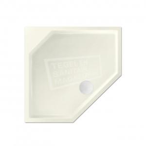 Xenz Marshall 90x80x4 cm vijfhoekige douchebak acryl edelweiss mat