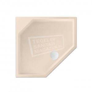 Xenz Marshall 90x80x4 cm vijfhoekige douchebak acryl creme mat