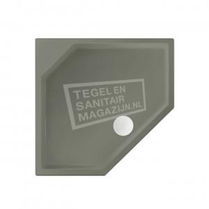Xenz Marshall 90x80x4 cm vijfhoekige douchebak acryl cement mat