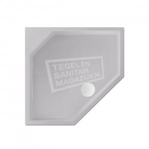 Xenz Marshall 90x80x4 cm vijfhoekige douchebak acryl manhatten glans