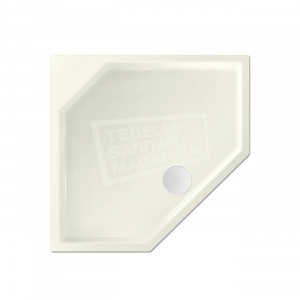 Xenz Marshall 100x100x4 cm vijfhoekige douchebak acryl edelweiss mat