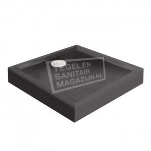 Xenz Mariana 80x80x14 cm douchebak met voorpaneel antraciet mat