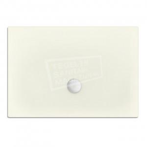 Xenz Flat zelfdragende douchebak 100x80x3.5 cm acryl edelwiess mat