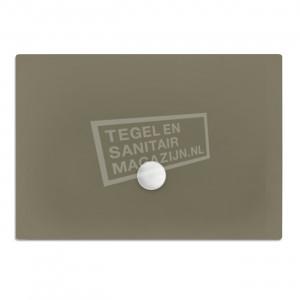 Xenz Flat zelfdragende douchebak 100x80x3.5 cm acryl klei mat