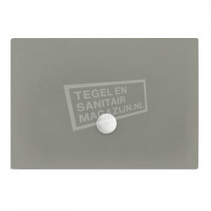 Xenz Flat zelfdragende douchebak 140x90x3.5 cm acryl cement mat