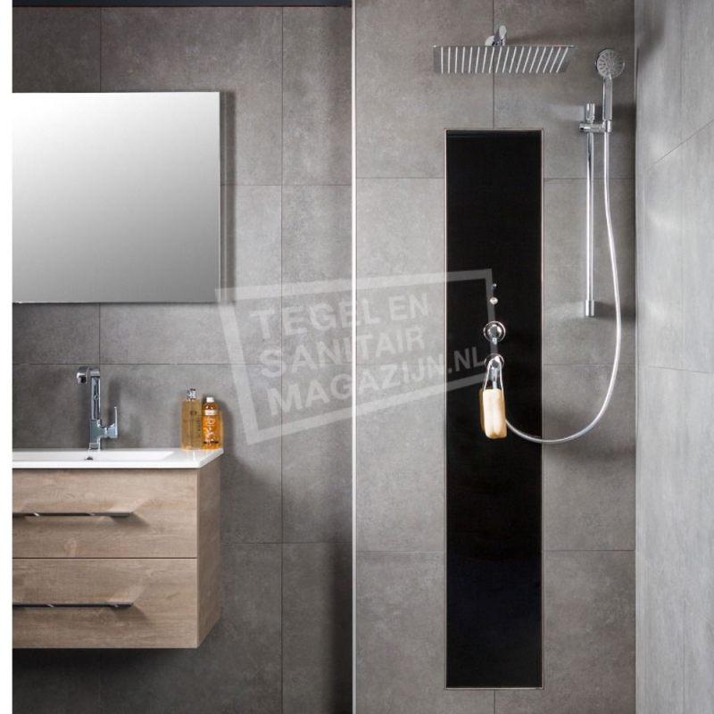 Douchecabine Incl Douchebak.Xenz Upfall Shower Excellent Tray 90x160 Cm Ebony Waterbesparende Douche Mica Sanitair Nl